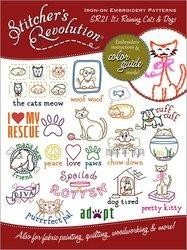 Stitchers Revolution SR21 Its Raining Cats  Dogs Iron-On Embroidery Pattern