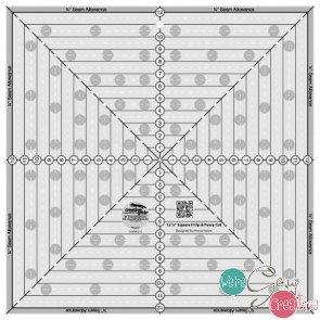 Creative Grids 12-12in Square It Up or Fussy Cut Square Quilt Ruler