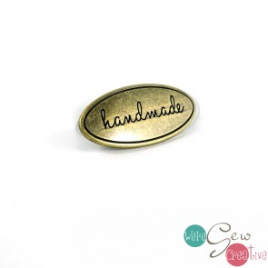 Oval Bag Label Handmade in Antique Brass