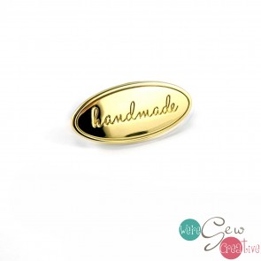Oval Bag Label Handmade in Gold Finish