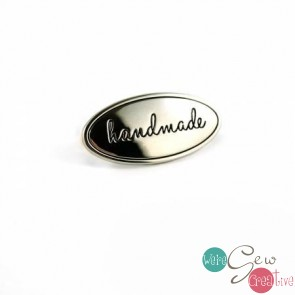 Oval Bag Label Handmade wBird in Nickel Finish