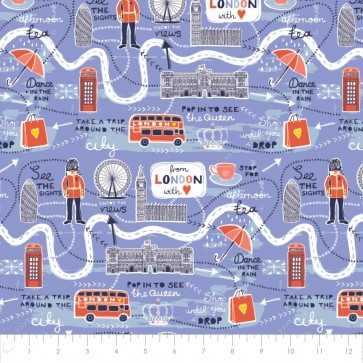 From London with Love Map Lavender