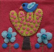 Pre-Cut Wool Applique Block Bird and Tree Colorway 1 Lime