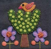 Pre-Cut Wool Applique Block Bird and Tree Colorway 2 Green