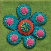 Pre-Cut Wool Applique Block Flower Colorway 3 Green