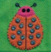 Pre-Cut Wool Applique Block Ladybug Colorway 3 Orange