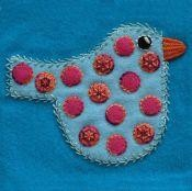 Pre-Cut Wool Applique Block Polka Dot Bird Colorway 3 Blue