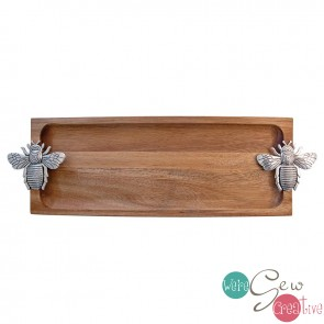 Bee Acacia Wood Tray