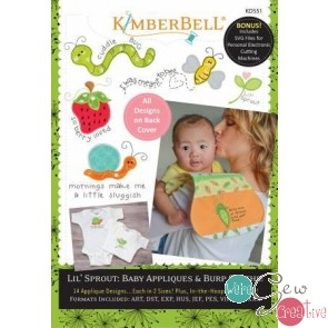 Kimberbell Lil Sprout Baby Appliques  Burp Cloths  KD 551