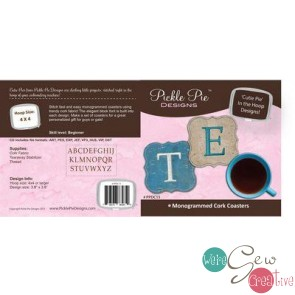 Monogrammed Cork Coasters Cutie Pie In the Hoop Designs PPDC15