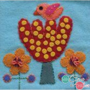 Pre-Cut Wool Applique Block Bird and Tree Colorway 4 Pink