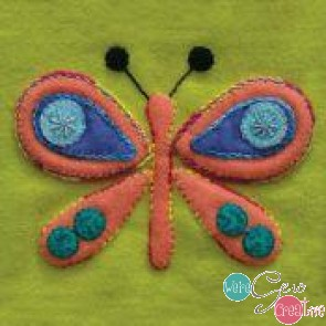 Pre-Cut Wool Applique Block Butterfly Colorway 1 Coral