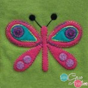Pre-Cut Wool Applique Block Butterfly Colorway 2 Pink
