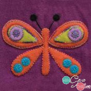 Pre-Cut Wool Applique Block Butterfly Colorway 3 Orange