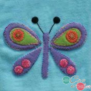 Pre-Cut Wool Applique Block Butterfly Colorway 4 Purple