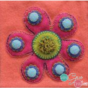 Pre-Cut Wool Applique Block Flower Colorway 1 Pink