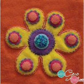 Pre-Cut Wool Applique Block Flower Colorway 4 Yellow