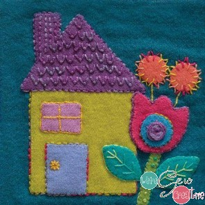 Pre-Cut Wool Applique Block House Colorway 1 Green