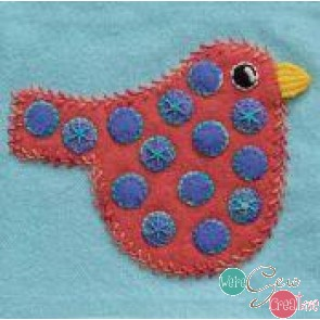 Pre-Cut Wool Applique Block Polka Dot Bird Colorway 2 Orange