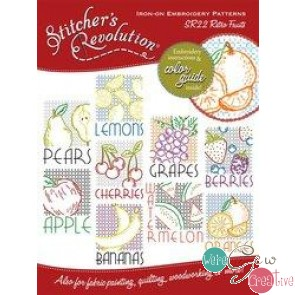 Stitchers Revolution SR22 Retro Fruits Iron-On Embroidery Pattern